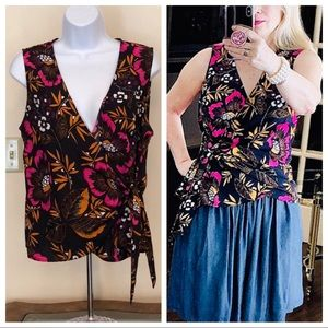 A NEW DAY tropical floral sleeveless wrap top